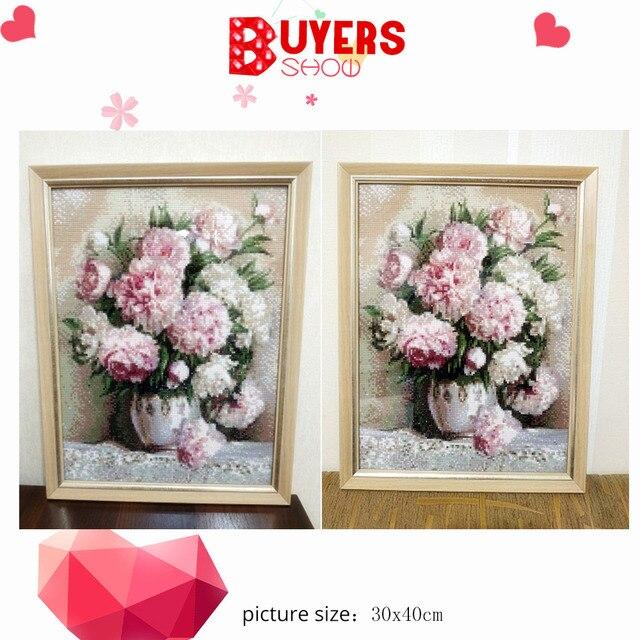 HUACAN DIY 5D Diamond Painting Peony Icon Modern Home Decoration Full Square Diamond Embroidery Flowers wedding