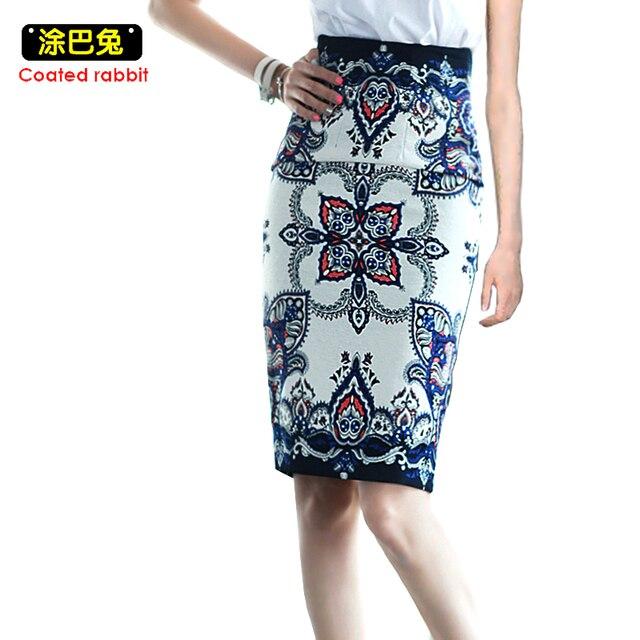 CR 2018 модные летние юбки с цветочным принтом h типа высокой талии элегантные Винтаж юбка-карандаш Разделение вилка женские до колен