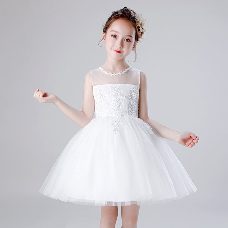 Cute   Flower     Girl     Dresses   For Weddings O-Neck Sleeveless Embroidery Bow Sashes Sweet Communion   Dresses   Pageant   Dresses   For   Girls