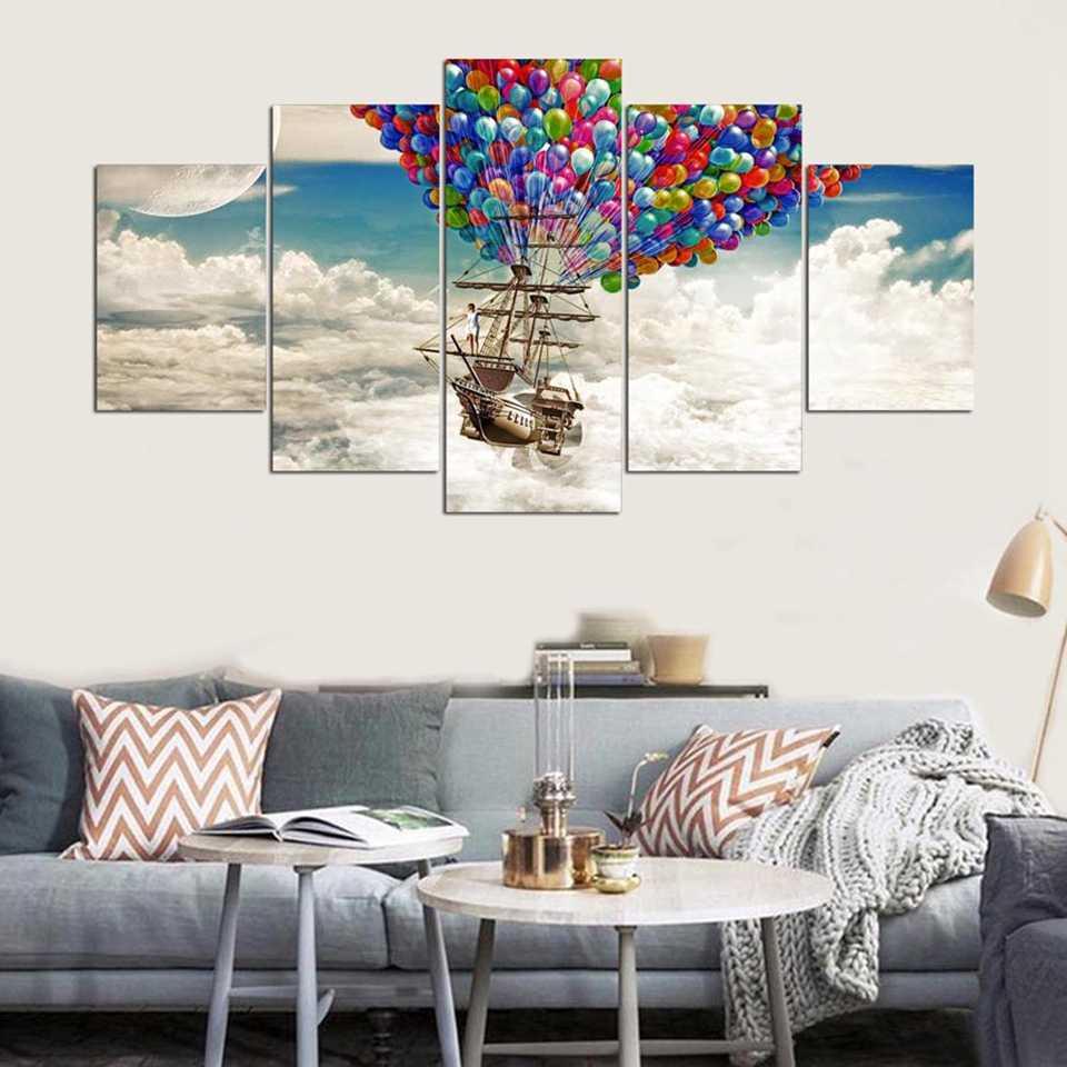 בד HD פוסטר אמנות קיר קישוט הבית מודרני 5 פנל ספינת אוויר בלון הדפסת סלון ציור תמונות מסגרת מודולרית