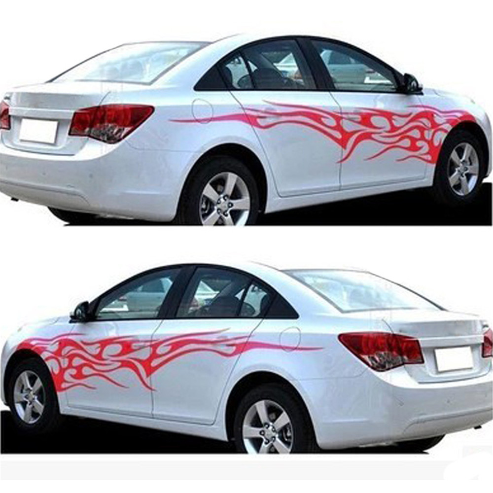 Car sticker design fire - 1 Pair Universal Car Stickers Whole Body Fire Flame Decor Vinyl Decals Car Styling Stickers For