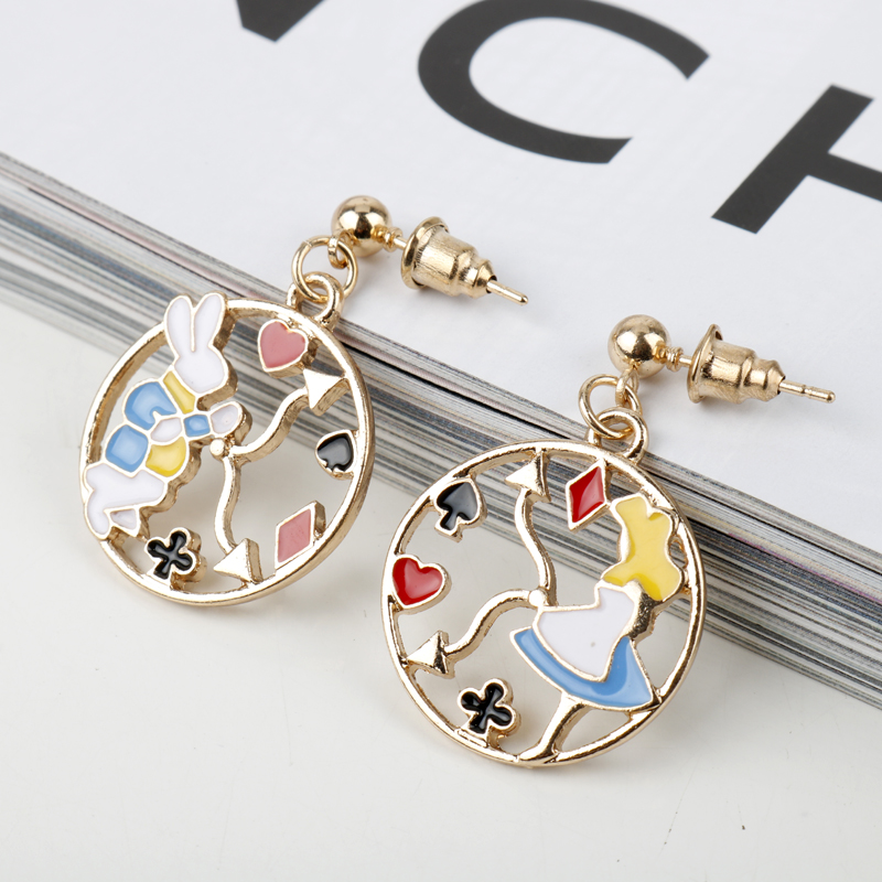 Cute Girl Fantasy Movie Alice In Wonderland Clock Rabbit Enamel Stud Asymmetry Earrings Fairy Tale Accessories Women Girl Gift