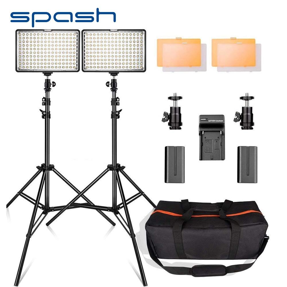 Spash TL-160S 2 Conjuntos de Luz De Vídeo LED 3200 K/5600 K CRI85 Iluminação de Estúdio de Fotografia Foto Lâmpada Painel LIDERADO luzes para Gravação de Vídeo