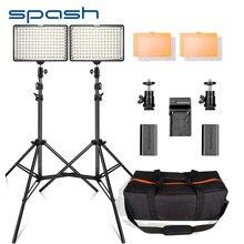 Spash TL 160S 2 takım LED Video işığı 3200K/5600K CRI85 fotoğraf aydınlatma stüdyo fotoğraf lamba paneli LED işıkları Video çekimi için