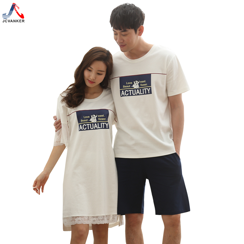 JCVANKER New Hot Couples Nightgowns For Women Man Lace Short Sleeve Home Suit Letter Cute Dog Pattern Shorts Sleepwear Pyjamas