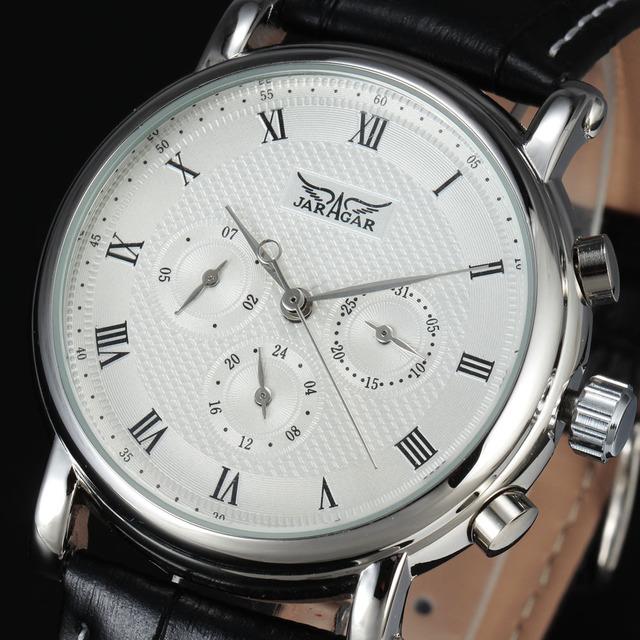 2016 Nova Marca de Luxo JARAGAR Mecânico Automático Self-Vento 24 Horas Semana Data Índice Roman Dial Homens De Couro Sólida relógios