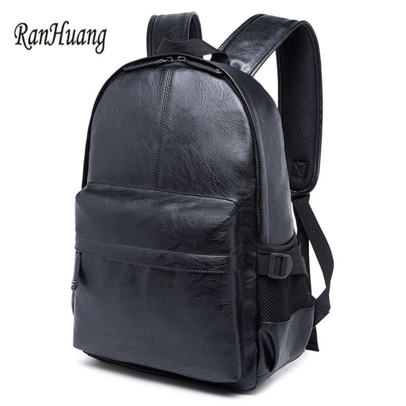 ФОТО RanHuang 2017 PU Leather Men Backpack School Bags For Teenage Boys Korean Men's Casual Backpack Black Rucksacks Laptop Backpack