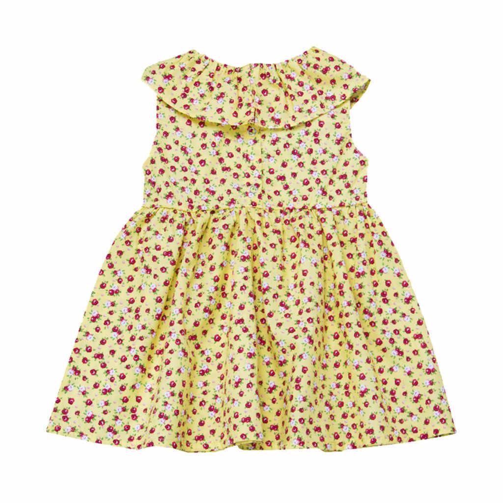 MUQGEW bebê menina conjunto de roupas de Bebê Sem Mangas Da Folha de Lótus Vestido Vestido Floral bebek erkek giyim ocuk erkek giyim # y2