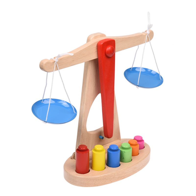 Children Toy Wooden Balance Scale with 6 Weights Great for Children 39 s Learning in Toy Balls from Toys amp Hobbies