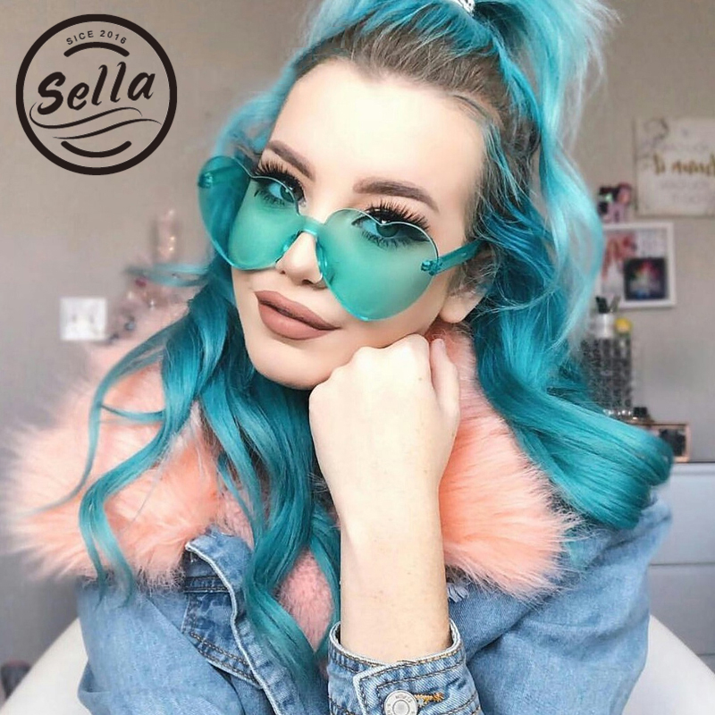2018 Sella New Women Conjoined Rimless Heart Shape Sunglasses Fashion Ladies Candy Color Oversized Love Eyewear Unique Sun Glass