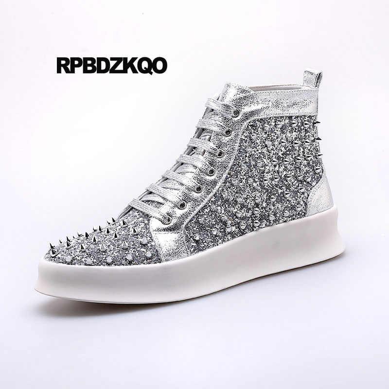 Stud Rubber Men Rivet Sneakers Casual Elevator Skate Silver Black Glitter  Shoes Hip Hop High Top 2157aaf70d69