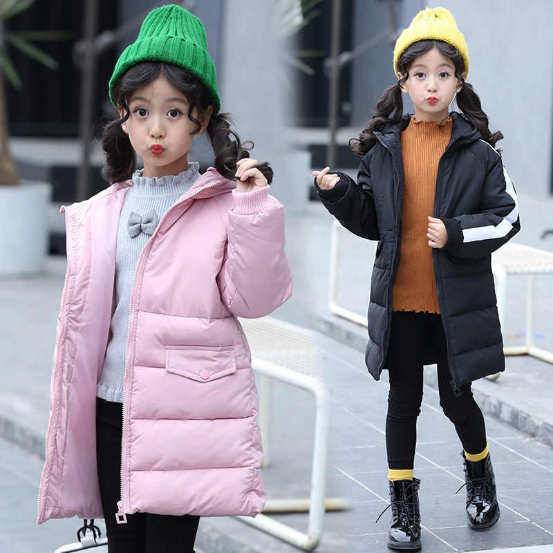 أطفال الشتاء سترة معطف الشتاء قمم 2018 الدافئة طويلة مقنعين كبيرة مراهقون الفتيات الشتاء أسفل معاطف الأطفال الملابس Winterjas Meisjes