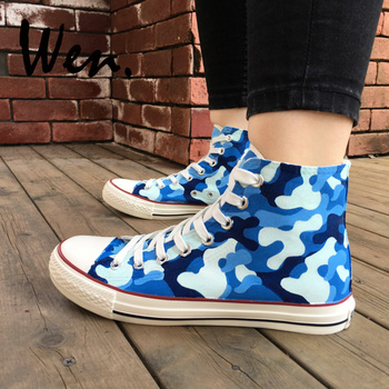 Wen Original Hand Painted Shoes Navy Camouflage Pattern for Men Women Design Custom High Top Flats Canvas Sneakers Special Gifts фото