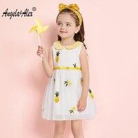 Angela Alex Girls Princess Dress Summer Peter Pan Collar Lovely Fruit Emboridery Baby Girls Clothes Kids