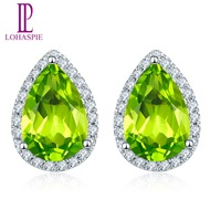 LP Solid 14K White Gold Natural Gemstone Peridot & Diamond Stud Earrings Fine Jewelry For Women's Gift NEW