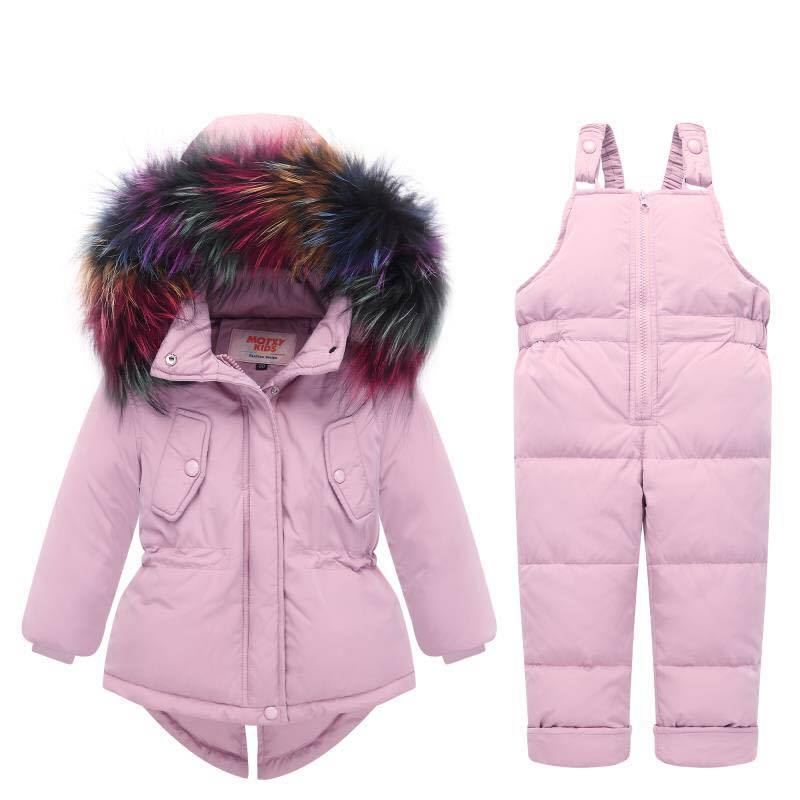 2018 Russian Winter children clothing sets Warm duck down jacket for baby girl children's coat snow wear kids suit Fur Collar цена 2017