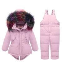 2018 Russian Winter children clothing sets Warm duck down jacket for baby girl children's coat snow wear kids suit Fur Collar
