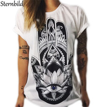 Sternbild New 2017 T shirt for Women Ethnic Owl Hand Print O-neck Short Sleeve T-shirt Fashion Design Tops Plus Size S-4XL