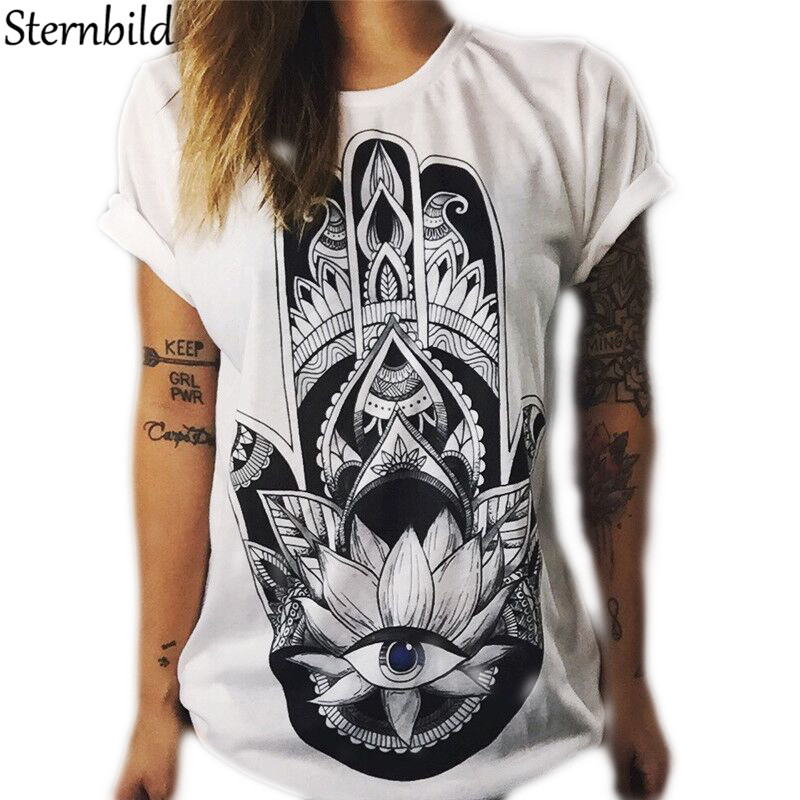 STERNBILD Plus Size S-4XL 2018 New T shirt for Women Ethnic Owl Hand Print Short Sleeve  ...