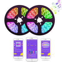 Music LED Strip Lights Kit, WS2811 5050 SMD LED Tape Strip SP107E Bluetooth Smart Phone APP Controlled, RGB LED Strip Rope Light