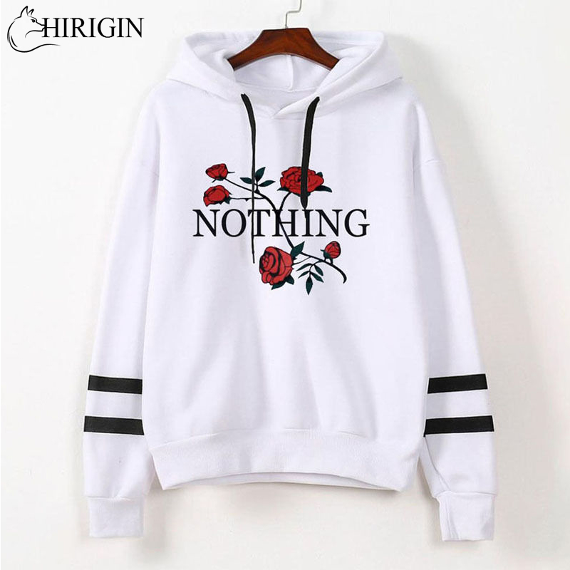 New Style in Autumn 2017 Women Floral Embroidery Long Sleeve Printed Hoodie Sweatshirt Sweater Hooded Jacket Coat Pullover Tops