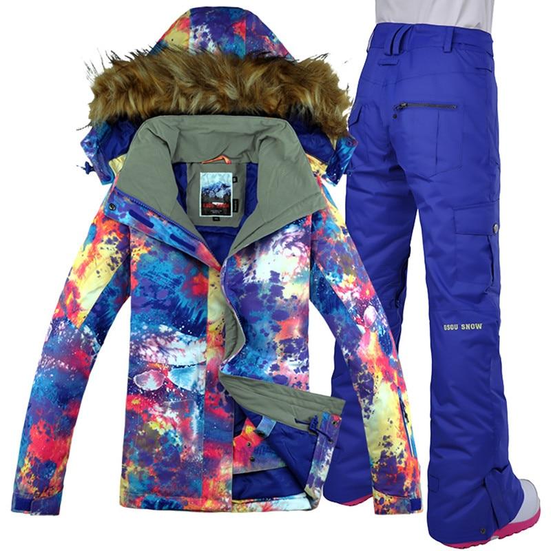 Women Ski Suit Skiing Jacket Snowboard Jacket Gsou Snow Waterproof Jacket Pant Windproof Thermal Suit Super Warm Clothing 2019