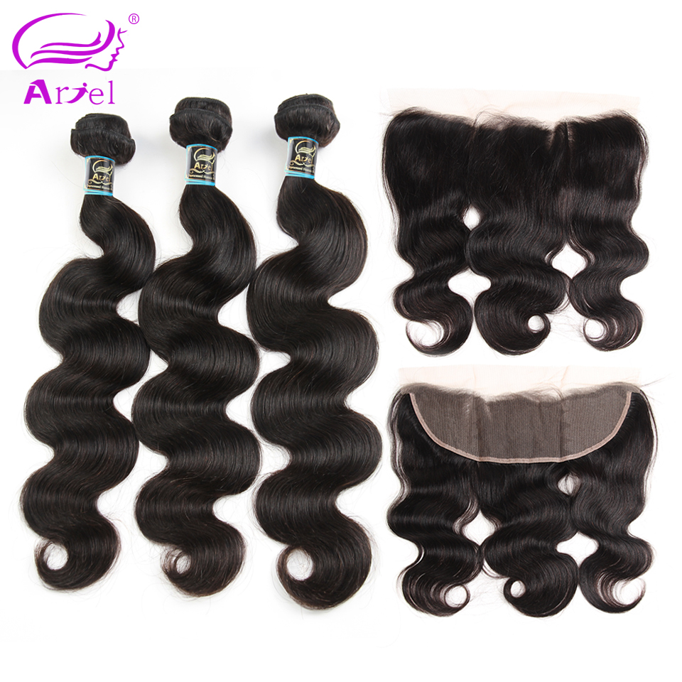 Ariel Brazilian Body Wave Lace Frontal With Bundles Non-remy Natural Color 3 Bundles Human Hair Bundles With Closure Free Part