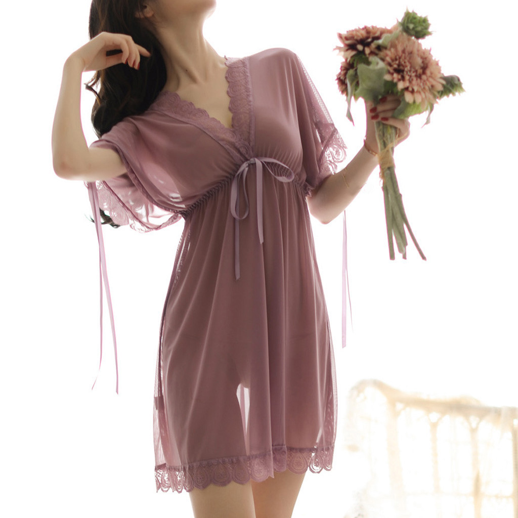 Silk   Nightgowns   Women Sexy Summer Sleepwear Dress Lace Tassel Femme Home Nightwear V-neck Nightdress Short Sleeve   SleepShirts