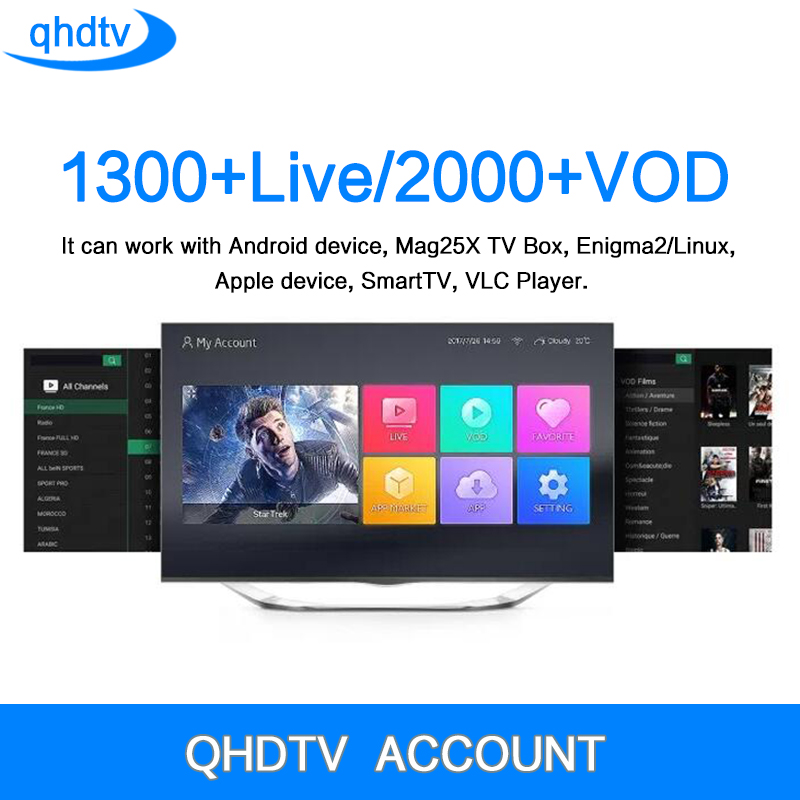QHDTV CODE IPTV Box 1 Year Subscription Europe French Italia 1300 Channels and Dalletektv Android TV Box Arabic IPTV Top Box