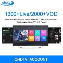 QHDTV CODE IPTV Box 1 Jahr Abonnement Europa Französisch Italia 1300 Kanäle und Dalletektv Android TV Box Arabisch IPTV Top Box
