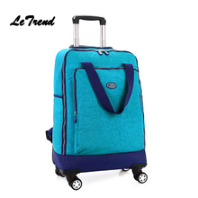 LeTrend Women Spinner Trolley Shoulder Backpack Rolling Luggage Suitcase Wheel font b Oxford b font Student