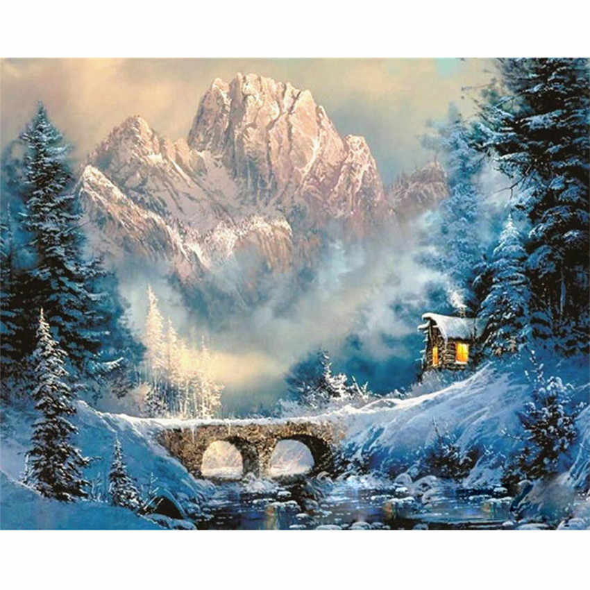 DIY Digital Painting By Numbers Package Valley winter snow oil painting mural Kits Coloring Wall Art Picture Gift frameless