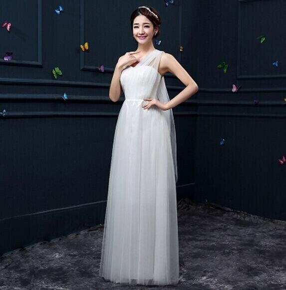 Новое пыльное розовое платье подружки невесты длинное платье с открытыми плечами из тюля милое ТРАПЕЦИЕВИДНОЕ гофрированное платье для свадьбы выпускного вечера платья под$50 - Цвет: white