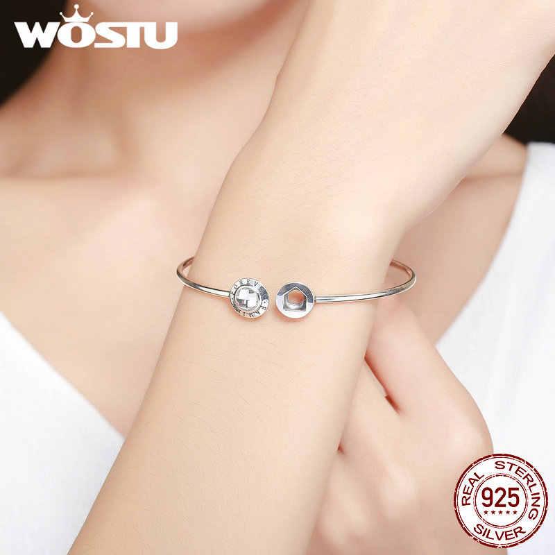 WOSTU מכירה לוהטת אמיתי 925 סטרלינג כסף לנצח משפחה צמיד לנשים Fit DIY קסם צמידי תכשיטים מתנה FIB011
