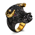 DC1989 Lucky Bull Black Face Golden Plated Horns Punk Design Cubic Zirconia Ring for Men and Women Unique Street Fashion Anillos