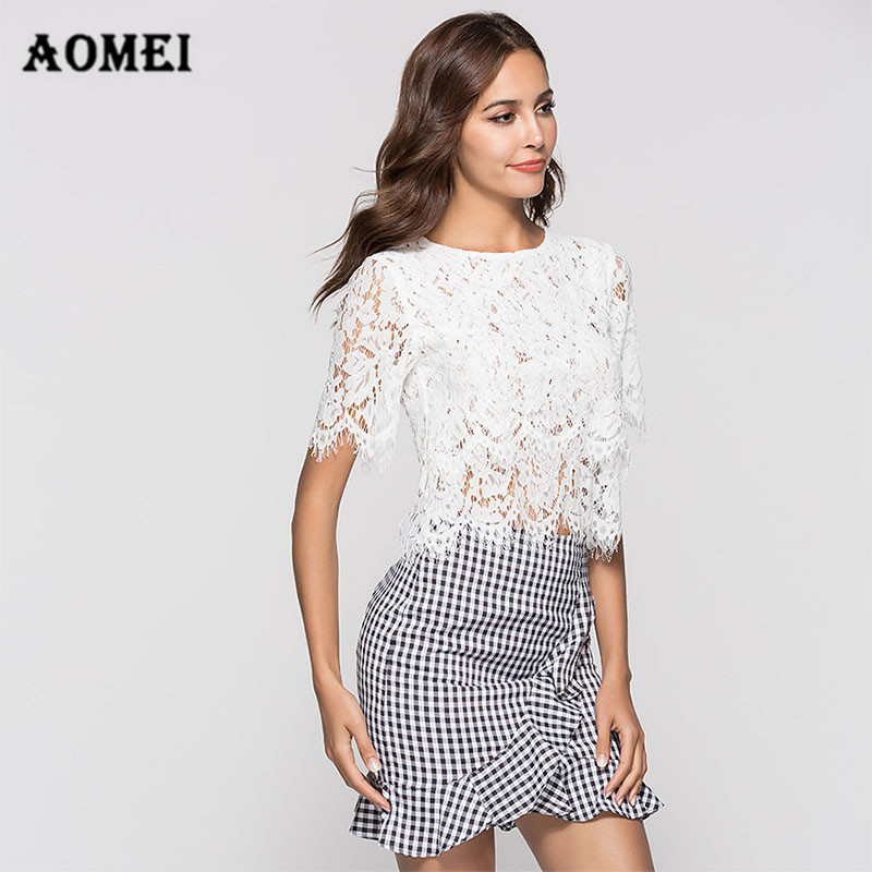Women Lace Blouses Shirt Fashion Crop Tops Hollow Out Fringe See Through White Black Sexy Streetwear Summer Bluas Casual Clothes