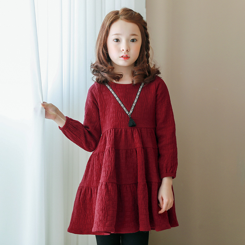 Girl Party Dress Kids Cotton Long Sleeve Evening Dresses Baby Girls Red Princess Dress Children Clothes Teenager Costume polaris pwk 1737ca