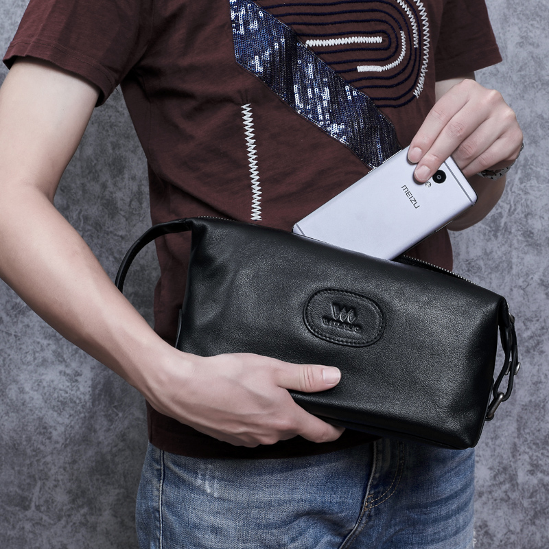 BAQI Brand Men Handbags Day Clutches High Quality Genuine Leather Cowhide 2019 Fashion Men Bag Casual Designer Ipad Phone Bag