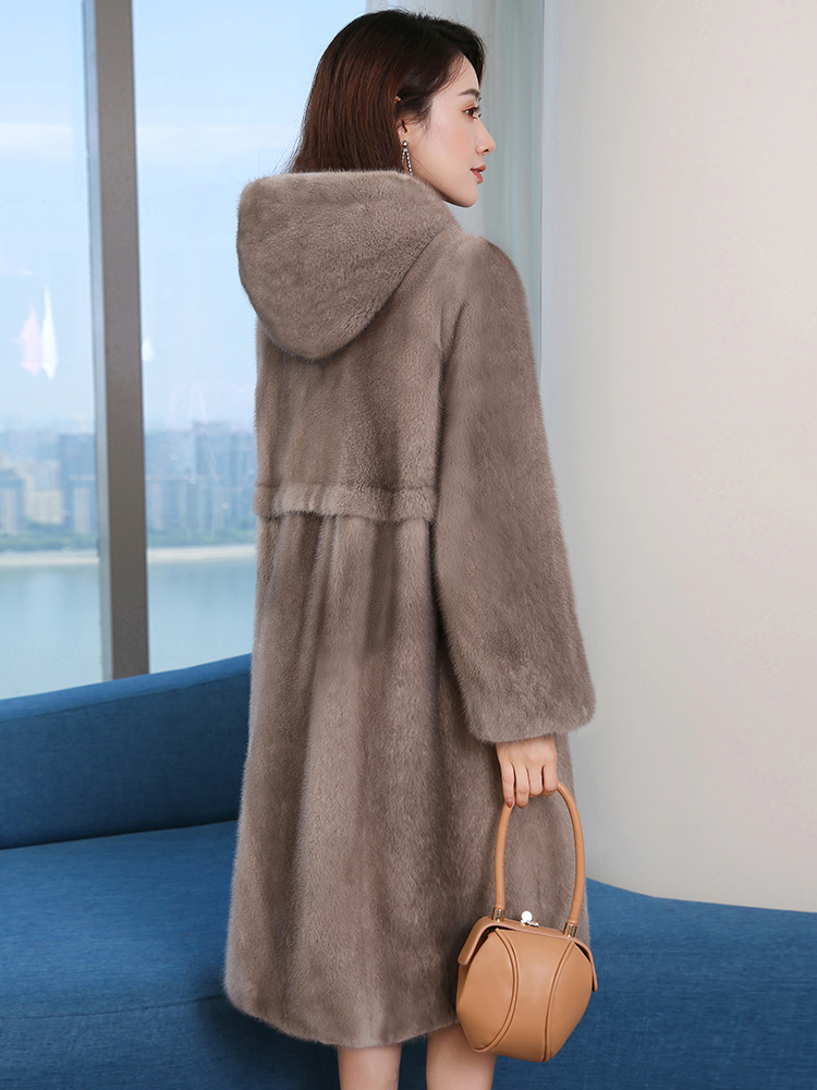 Mink coat female tidy long section young imported velvet mink fur coat female 2018 new winter