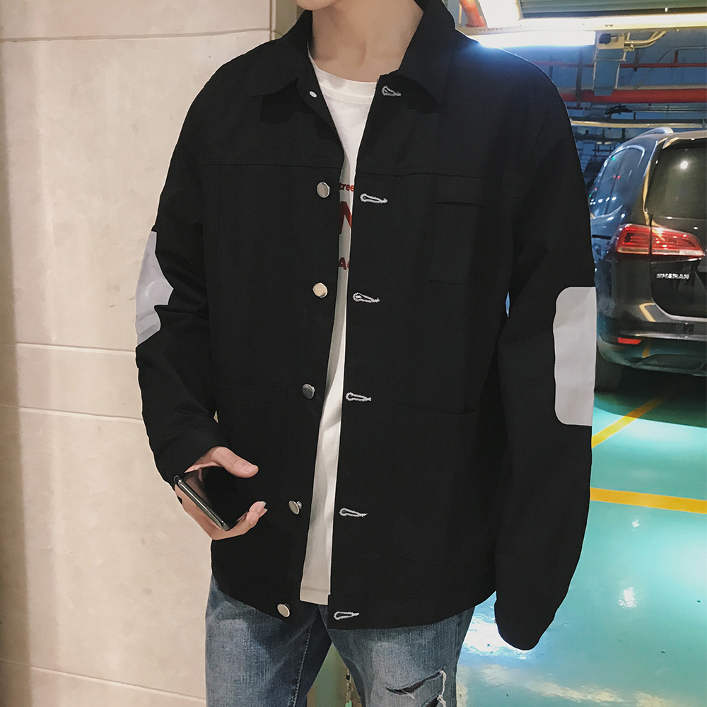 2018 Spring Newest Mens Fashion HongKong Style Lapel Applique Cowboy Jacket Loose Casual Thin Solid Color Jeans Coats M-2XL