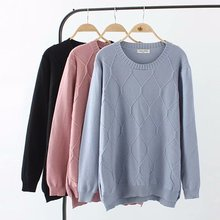 Plus size casual O-Neck women Knitted pullover 2019 light blue & pink black argyle autumn winter ladies sweater wool female