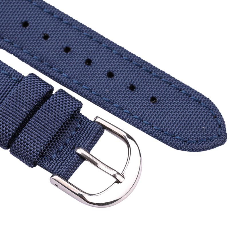 Nato Strap Canvas Nylon Genuine Leather Watch Band 18mm 20mm 22mm 24mm Men Black Blue Green Women Fashion Watchband Bracelet in Watchbands from Watches