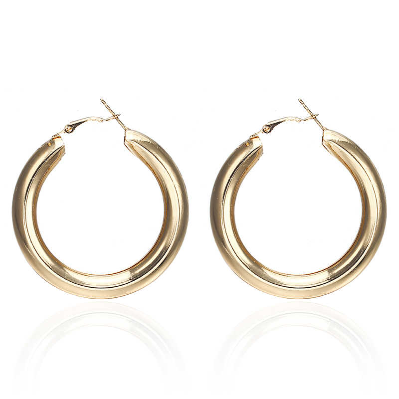 E0149  Simple Trendy Gold Sliver Color Geometric Big Round Circle Earrings For Women Fashion Large Hollow Drop Earrings Jewelry