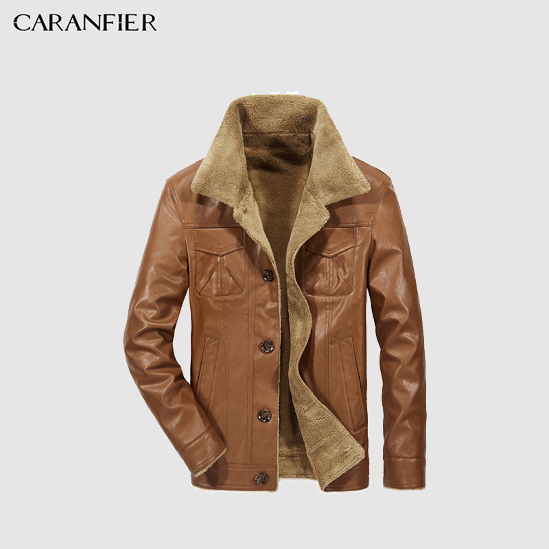 CARANFEIR PU chaqueta de cuero Otoño Invierno Men'Jacket cuero caliente Business Casual Color sólido grueso ancho de cuello chaqueta de invierno