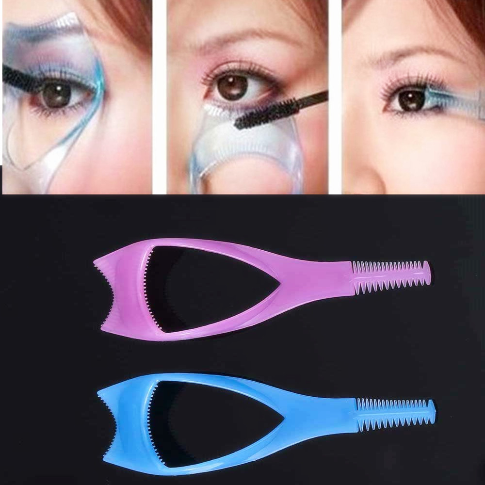 Three in one cosmetic beauty mascara applicator guide comb eyelash curler make-up tools accessories