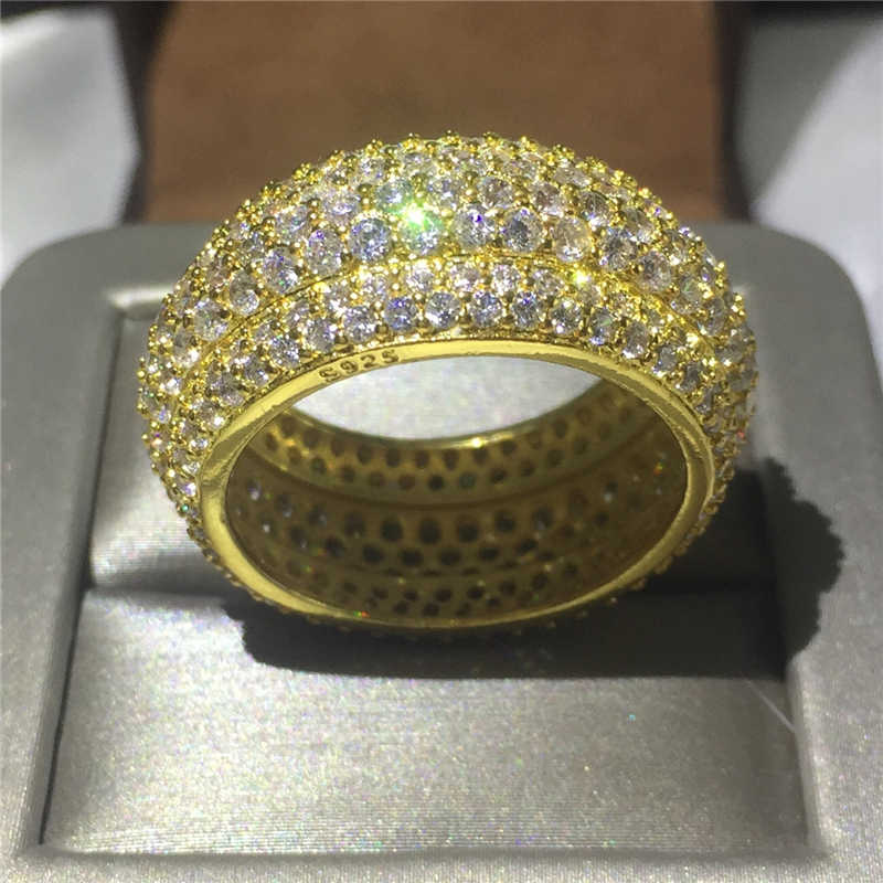 Anel de dedo feminino anel de noivado feito à mão anéis de banda de casamento para mulher completa 320 pçs aaaaa zircon cz amarelo