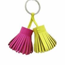 Luxury Fashion Lambskin Leather Double Tassel Keychain For Keys Car Key Chain Women Bag Charm Backpack Pendant Handmade Gift