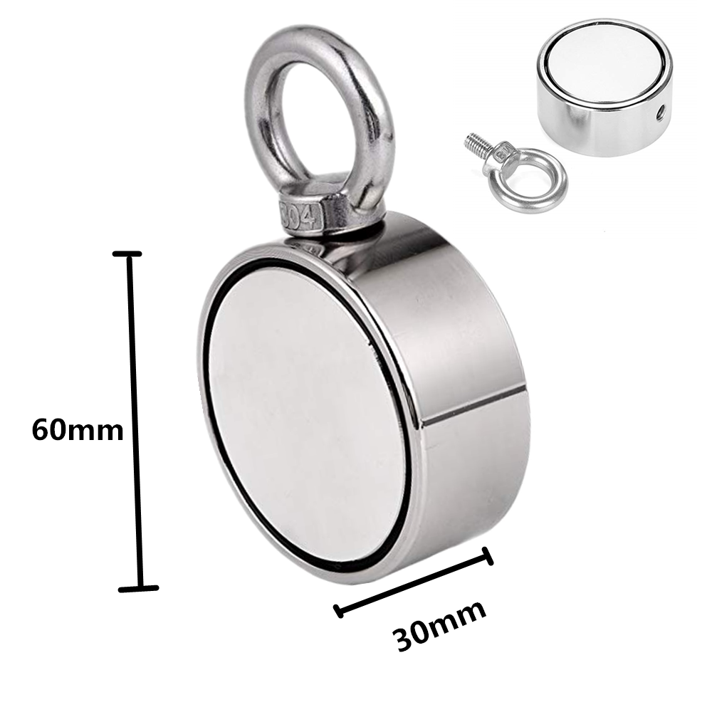 1 pz D60mm salvataggio magnete Al Neodimio super potente foro Circolare Anello gancio 200 kg pesca permanente supporto Double-sided magnete