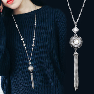 2018 fashion Choker Necklace 925 jewelry for women 18mm Snap Buttons Beads Pendant Statement Necklace For Women Jewelry