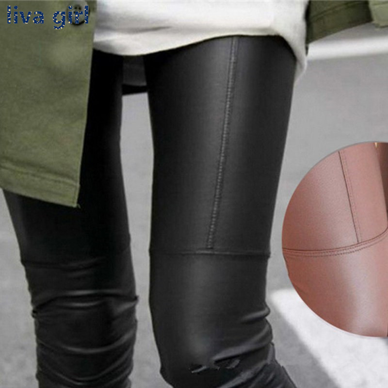 New Autumn Winter Korean Fashion Faux Leather Trousers Women New Sexy Skinny PU Leggings Pants Pantalon Femme